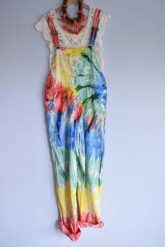 Vintage retro tie Dye Overalls...:)