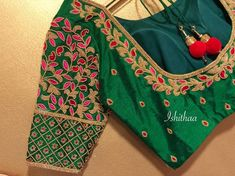 Gorgeous bottle green it is ! Beautiful bottle green color designer blouse with floret lata design hand embroidery bead and thread work. Ping on 9884179863 to book an appointment. Blouse Back Neck Designs, Cutwork Blouse Designs, Hand Work Blouse Design, Simple Blouse Designs, Stylish Blouse Design, Wedding Saree Blouse Designs, Simple Designs, Designer Blouse Patterns, Marie