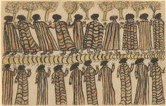 'Figures in possum skin cloaks', by William Barak [Wurundjeri National Gallery of Victoria. Possum skin cloaks/rugs were commonly bought by diggers from local indigenous people (in NE Vic, from inhabitants of the Tangambalanga reserve). Australian Aboriginal History, Australian Painters, Australian Art, Aboriginal Culture, Aboriginal People, Aboriginal Art, Kunst Der Aborigines, Between Two Worlds, Sustainable Textiles