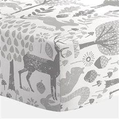 Gray Woodland Animals Crib Sheet 250x250 image