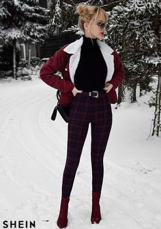 Casual Fall Outfits, Winter Fashion Outfits, Edgy Outfits, Mode Outfits, Fall Winter Outfits, Look Fashion, Dresses In Winter, Grunge Winter Outfits, Red And Black Outfits