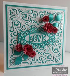 Debra Shaw - Create a Card Wrap around dies: Chantilly - Prestige Only Words: Love -Centura Pearl Teal and White card - Die'sire Large fringed Quilling flower - Die'sire Small fringed quilling flower - Die'sire Leaf - Collall All Purpose Glue, Tacky glue. 3Dg Glue gel - #crafterscompanion