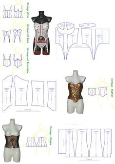 Sewing patterns for corsages, bustiers and waspies in many variations and according to . Costume Patterns, Doll Clothes Patterns, Sewing Clothes, Clothing Patterns, Sewing Patterns, Corset Sewing Pattern, Pattern Drafting, Bra Pattern, Lingerie Patterns