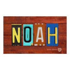 NOAH License Plate Lettering Name Sign Poster. $28 + shipping