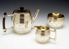Christopher Dresser (British, 1834-1904) Tea Set c. 1878 Silver-plated metal 5 x 7 x 4.25″ (teapot) Photo: Tony Cunha. 1997.157.1