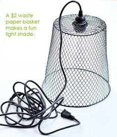 .wire waste basket makes light