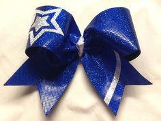 Star Cheer Dance Gymnastics Bow Blue by RazzyRibbonsBowtique