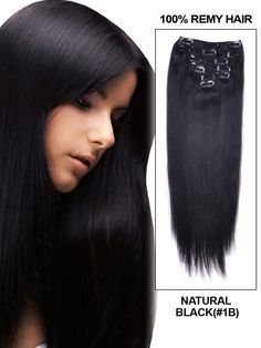 70g/7pc Clip in Hair Extensions Remy Human Hair# myfashionhair# Natural Black# Straight