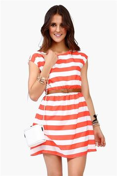 coral striped dress from Necessary clothing