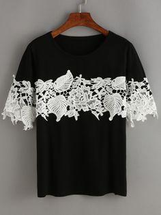 T-shirt manche courte avec dentelle -noir