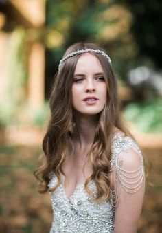 Anna Campbell Romantic Vintage Wedding Dress with Hand-embellishment shoulder detail | Hand-beaded wedding gown | Sierra Dress | Blossom Headpiece | Bridal Headpiece | Bridal Editorial |