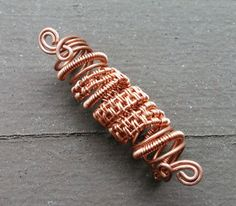 Copper Dread Bead Copper Wrapped Woven by HeatherfishCreations