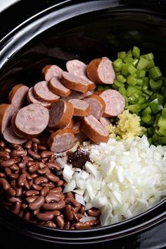 Slow Cooker Red Beans and Rice Recipe - A traditional Creole red beans and ri. - Slow Cooker Red Beans and Rice Recipe – A traditional Creole red beans and rice recipe that ev - Creole Red Beans And Rice Recipe, Red Beans And Rice Recipe Crockpot, Red Bean And Rice Recipe, Crockpot Dishes, Crockpot Rice Recipes, Red Beans And Sausage Recipe, Andouille Sausage Recipes, Easy Red Beans And Rice Crockpot Recipe, Pressure Cooker Red Beans And Rice Recipe