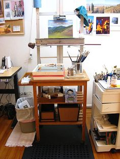 Organized art studio  and inspiration. paint.