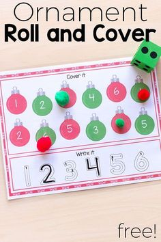 ornament math center activities These roll cover and write mats are fun and effectiveChristmas ornament math center activities These roll cover and write mats are fun and.