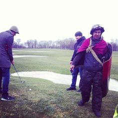 Ukrainian protesters currently playing golf on the President's residence in Kiev