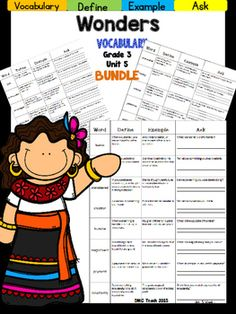 This 3rd grade Vocabulary Routine is aligned toMcGraw Hill Wonders for Grade 3, Unit 5 (Weeks 1-5) It contains all vocabulary words, definitions, examples, and a question for students to respond.This is a great way to reinforce weekly vocabulary words for homework or during independent centers.
