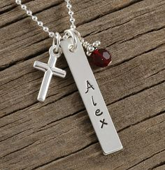 Jewelry, hand stamped personalized rectangle with cross and birthstone, $38, http://www.etsy.com/shop/divinestampings