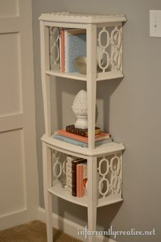 Cute idea for a small bookcase using old end tables!