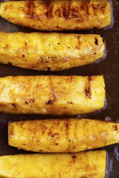 Pineapple spears that get coated in a buttery brown sugar cinnamon glaze and caramelize on the grill! This will be one of the most amazing sides that you grill this summer! This Caramelized Brown … Grilled Fish Recipes, Pork Rib Recipes, Grilled Fruit, Healthy Grilling Recipes, Grilled Meat, Cooking Recipes, Pineapple Recipes, Fruit Recipes, Summer Recipes