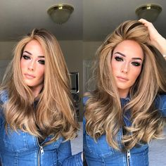 Women Fashion Gold Long Wavy Wigs Synthetic Big Wavy Long Curly Hair Wig Sexy Wig New Blonde Ombre Hair, Ombre Hair Color, Hair Color Balayage, Brown Hair Colors, Auburn Balayage, Hair Colour, Balayage Hairstyle, Black To Blonde Hair, Ashy Balayage