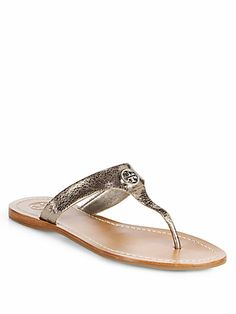 Tory Burch - Cameron Crackled Metallic Leather Thong Sandals - Saks.com