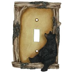 Another bears collectible! A single black bear cub sits in the corner of the cover. Realistic hand-painted poly resin design with driftwood and wood bark-look embellishments. Replaces any standard sin