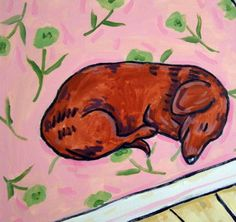 Dachshund Sleeping picture ceramic dog art tile animal