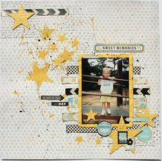 #papercrafting #scrapbook #layout - Designed using Fancy Pants Park Bench products.