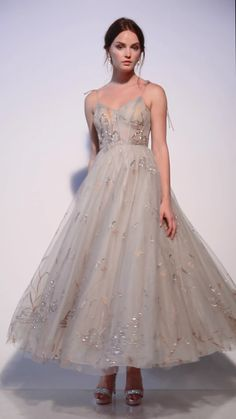 Andrea leo couture emilia gown _lake birds embroidered tea length dress _formal prom evening vestidos wedding dresses us on ig mood board andrea_leo_couture Wedding Dress Trumpet, Tea Length Wedding Dress, Tea Length Dresses, Wedding Dresses, Bridesmaid Dresses, Dresses For Engagement, Marchesa Wedding Dress, Wedding Outfits, Dress Prom