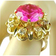 Luxurious 6.5 Carat Raspberry Pink Sapphire And 1.00 Carat White Sapphire Ring