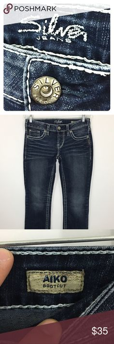 """Silver Jeans Aiko Boot Cut Women's 29 x 33 Beautiful pair of Silver Jeans """"Aiko"""" model. Boot cut with a decorative thick stitch. Gently used. Measures 30"""" waist; 37"""" hips; 7.25"""" rise and 31.5"""" inseam. Silver Jeans Jeans Boot Cut"""