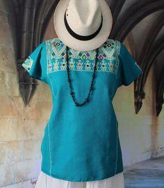 Turquoise & Cream Huipil Larrainzar Chiapas Mexico Hand Woven Mayan, Boho Hippie #Handmade #Huipiltunic