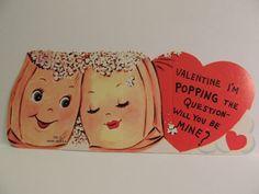 44 Vintage Valentine Card 1960's Anthropomorphic Popcorn ~ Popping t…