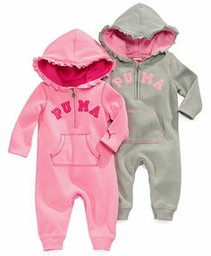 Puma Baby Girls' Hooded Coverall. TOO CUTE! I like the fushia/lime