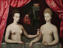 Gabrielle d'Estrées, Duchess of Beaufort and Verneuil, Marchioness of Monceaux (on the right) 1573 – 10 April 1599) was a French mistress of King Henry IV of France