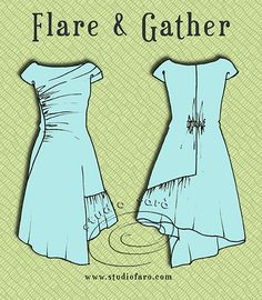 #PatternPuzzle - Flare  Gather Dress.  All the pattern making instructions on the blog.