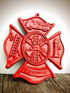 Traditional Fire Engine Red Firefighter Symbol Maltese Cross Sign - Shabby Chic Rustic For Him