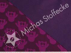 Michas Stoffecke - Softshell Gespenster auf aubergine S-HDS44651-D