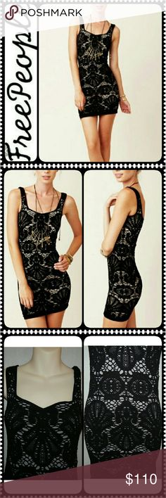 Free People Intimately Dress Free People Collection from Intimately, Eye Catching in Black Crochet Slip Dress Style, Fully Lined Sexy Low V Square Neck Line, Has Nice Stretch to It, Body Hugging and Just Plain Gorgeous!  Falls Above Knee, Measures Approx 36 inches Chest (with a stretch), 28 inches under arm to Hem, New without Tag. Free People Dresses