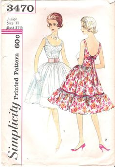 Vintage 1960's Simplicity 3470 Cocktail Dress Sewing Pattern