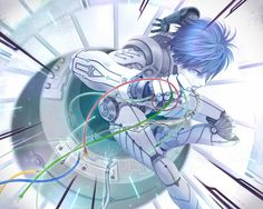 Tags: Anime, Pixiv Id 2186020, Vocaloid, KAITO, Android, Wires, Cyber