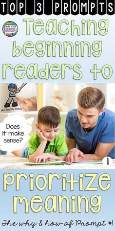 How to Teach Your Child to Read - Does your reading make sense? Teaching beginning readers to prioritize meaning - The why and how of prompt 1 Give Your Child a Head Start, and.Pave the Way for a Bright, Successful Future. Reading Lessons, Reading Resources, Reading Strategies, Reading Activities, Reading Skills, Reading Tips, Classroom Resources, Math Lessons, Classroom Decor