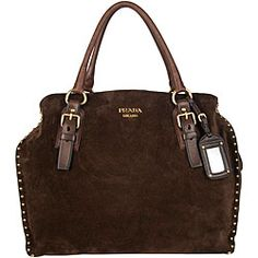 Prada Brown Suede Tote - I think I need this to go with my new shoes. ;)