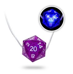 It's a purple d20 that you can switch on whenever you feel like it so it glows bluish (giving the whole thing a sort of violet hue).