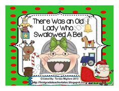 """There Was An Old Lady Who Swallowed a Bell from Teresa Gregorio on TeachersNotebook.com (32 pages)  - Over 30 Pages of Old Lady Fun! These activities are based on the book, """" There Was An Old Lady Who Swallowed A Bell""""  Included: *Noun and Verb Sort Center and Recording Sheet *Addition Center and Recording Sheet *Cause and Effect *Sequencing Car"""