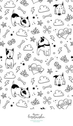 Bullterriers - black and white version of tattoo style textile surface pattern design for children with bullterrier motif.