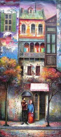 """Artist at the third generation David Martiashvili was born in Tbilisi, Georgia. He graduated from the """"School of the Arts"""" for gifted children, then - Tbilisi A Art And Illustration, Art Aquarelle, Naive Art, Whimsical Art, Art Plastique, Oeuvre D'art, Home Art, Modern Art, Art Photography"""