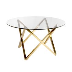"""A round table with stunning gold stainless steel base. - Dimensions: 23.5""""Dia x 21.5""""H - Materials: Stainless Steel; Tempered Glass - Finish: Polished Gold; Clear - Table top thickness ½""""H - Some ligh"""