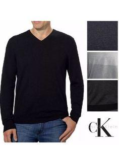 06f023aa58 New men s calvin klein lifestyle extra fine merino wool v-neck sweater